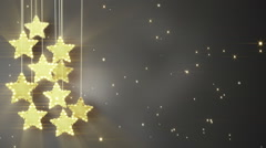 Gold hanging stars christmas lights loop Stock Footage