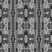 grey geometry vintage floral seamless pattern - stock illustration