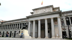 Tourist visiting the outside of the Prado Museum in Madrid, Spain. Stock Footage