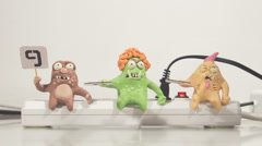 stopmotion animation monster jury voting - stock footage