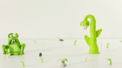 Stopmotion animation monster and flower 4k (4096x2304) Stock Footage