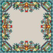 Floral vintage frame, ukrainian ethnic style Stock Illustration