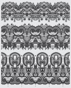 grey collection of seamless ornamental floral stripes - stock illustration