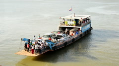 Car Ferry Leaving the Dock in Phnom Penh Cambodia Stock Footage
