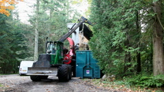 Hydraulic system lifting the huge load of chipped wood from the forest Stock Footage
