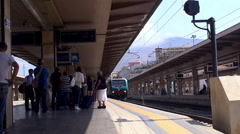 Arriving passenger train at Palermo Train Station. Sicily Stock Footage