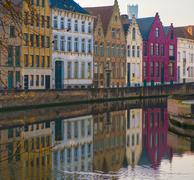 Stock Photo of houses along canal in bruges, belgium