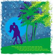 Couple kissing - abstract card with the tropics in the background Stock Illustration