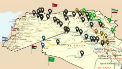 Map of the conquest of the Islamic state in Iraq and Syria - war Stock Footage
