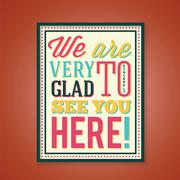 Glad to See You Abstract Retro Poster With Typography Stock Illustration