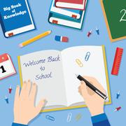 Back to School Flat Style Vector Background With Books Pencils Pen and Other - stock illustration