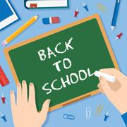 Back to School Flat Style Blackboard Vector Background With Chalk Pins Clips Pen Stock Illustration
