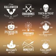 Vintage Typography Halloween Vector Badges or Logos Pumpkin Ghost Scull Bones Stock Illustration