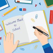 Back to School Flat Style Vector Background With Opened Textbook Pencils Pen - stock illustration