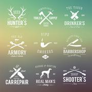 Vintage Labels With Retro Typography for Men's Hobbies Such as Hunting, Arms, - stock illustration