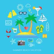 Summer vacation flat vector icon set - stock illustration