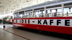 Idee Kaffe inside tram depot - stock footage