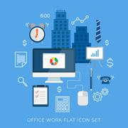 Office work flat vector icon set - stock illustration