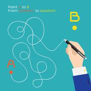 Point A to B flat pen route - stock illustration