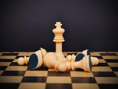 king and fallen pawns - stock photo