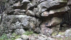 4k Big rocks monument closeup tilt up in low mountain range Harz Stock Footage