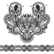 Neckline grey embroidery fashion, black and white collection Stock Illustration