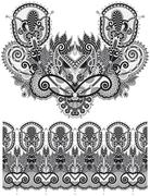 Neckline grey embroidery fashion, black and white collection - stock illustration