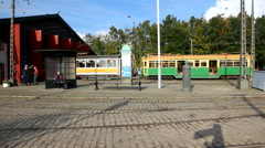 Panning shot of the old tram depot Stock Footage