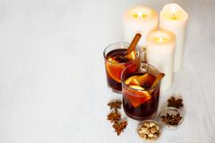 christmas decoration with mulled wine - stock photo