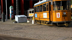 The tram stops at the depot Stock Footage