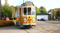 Stock Video Footage of Tram number nine on the track