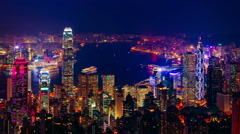 Blue hour time-lapse of Hong Kong Stock Footage