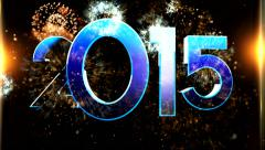New year 2015 animation with ambient fireworks sound 8 Stock Footage