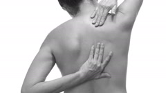 Female With Back Pain Black and White Stock Footage