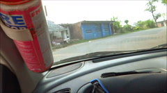 A time-lapse moving panoramic view, through a car Stock Footage