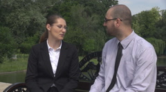 Business couple outdoor workplace, woman is late at office running, team members Stock Footage