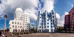 View of three futuristic building neue zollhof located in media harbor Kuvituskuvat