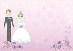 Bride and groom on pink floral background Stock Illustration