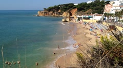 Algarve beach scenario (Praia de Olhos de Agua - Albufeira), Portugal Stock Footage
