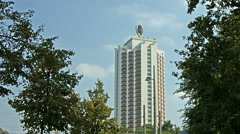 Wintergarten Highrise with Leipzig double M fair symbol Stock Footage