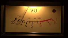 Classic reel to reel tape recorder VU meter, analog display - stock footage