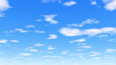 Under the clouds - 4k 30fps - clear white clouds, vibrant blue sky Stock Footage