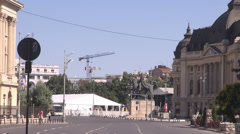 Summer cityscape, great period to drive downtown, national holiday, empty street - stock footage