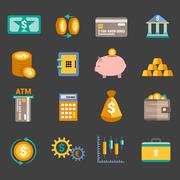 Stock Illustration of Money finance icons