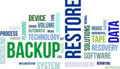 word cloud - backup restore - stock illustration