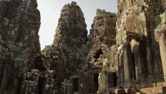 Tilt Bayon Temple Wide Stock Footage