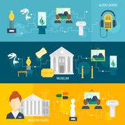 Museum icons banner Stock Illustration