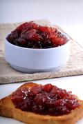 crisp toast and jam in a bowl - stock photo