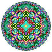 decorative design of circle dish template, round geometric patte - stock illustration