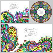 set of floral decorative background, template frame design for c - stock illustration